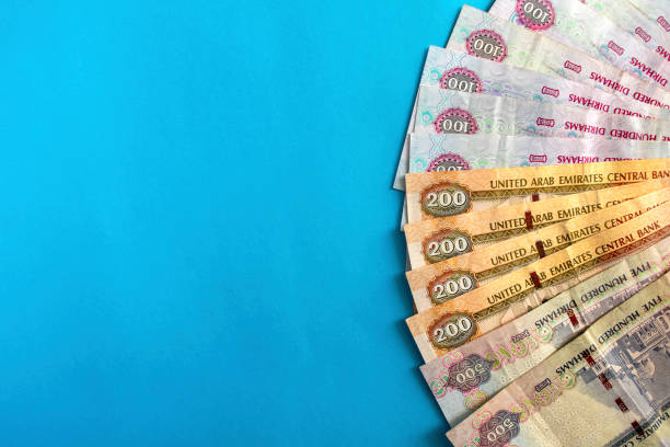 UAE national currency, dirhams banknotes stock photo