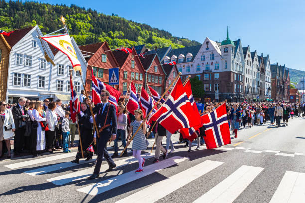 National day in Norway. Norwegians at traditional celebration and parade.