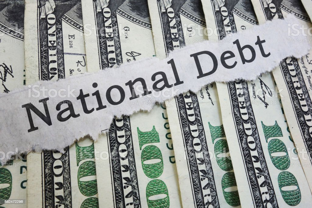 National Debt headline stock photo