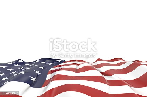istock USA national flag Closeup on isolated Background 614724978