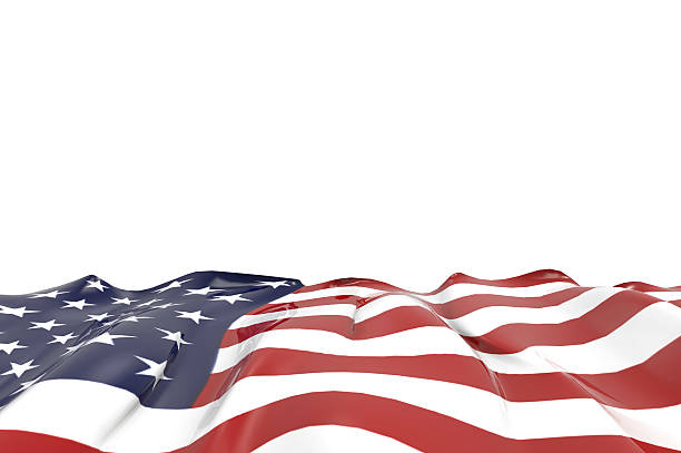USA national flag Closeup on isolated Background stock photo