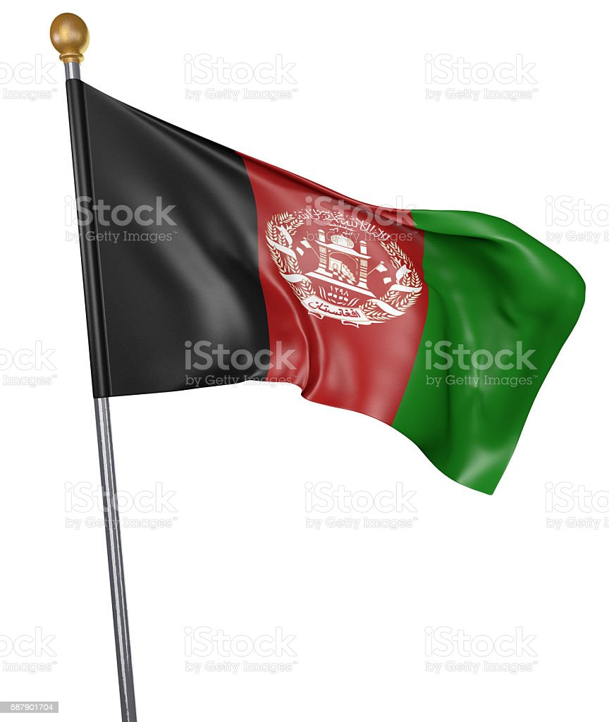 National flag for country of Afghanistan isolated on white background - foto de acervo