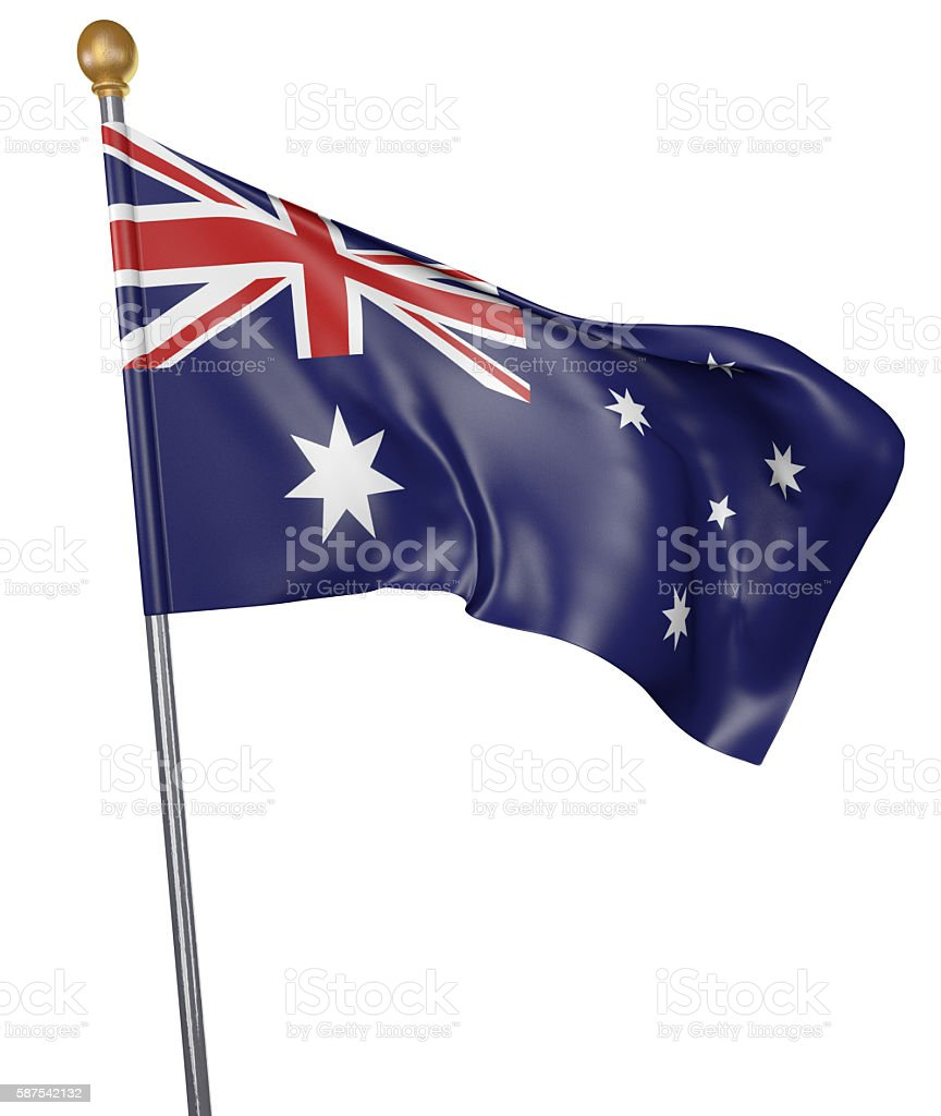 National flag for country of Australia isolated on white background stock photo