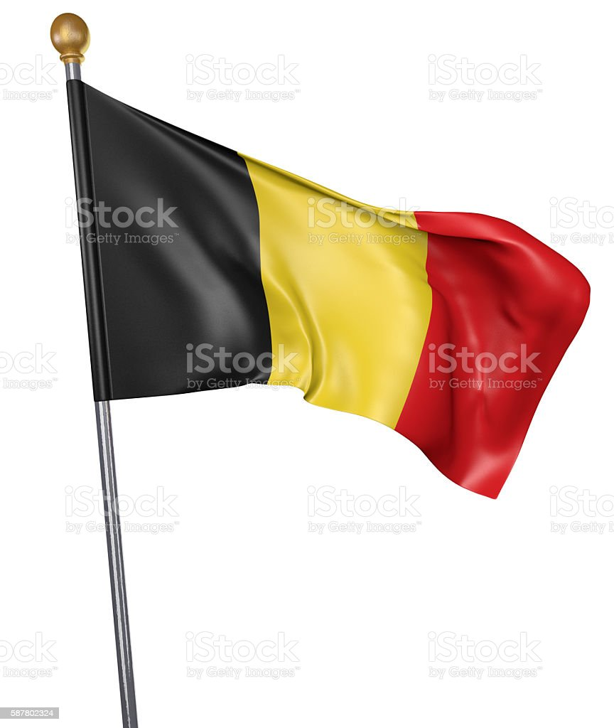 National flag for country of Belgium isolated on white background stock photo
