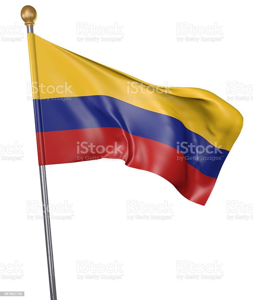 National flag for country of Colombia isolated on white background - foto de stock