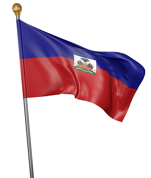 National flag for country of Haiti isolated on white background Realistic 3D render of a flag pole with the national flag of Haiti waving in the air against a white background. Haiti Flag stock pictures, royalty-free photos & images