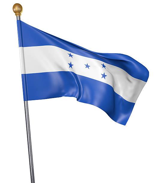 national flag for country of honduras isolated on white background - bandera de honduras fotografías e imágenes de stock