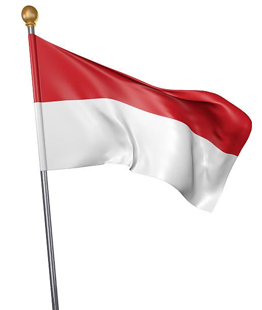 national flag for country of indonesia isolated on white background - bandeira da indonesia - fotografias e filmes do acervo
