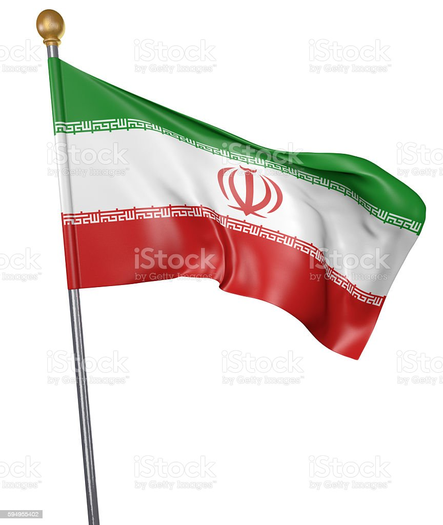 National flag for country of Iran isolated on white background stock photo