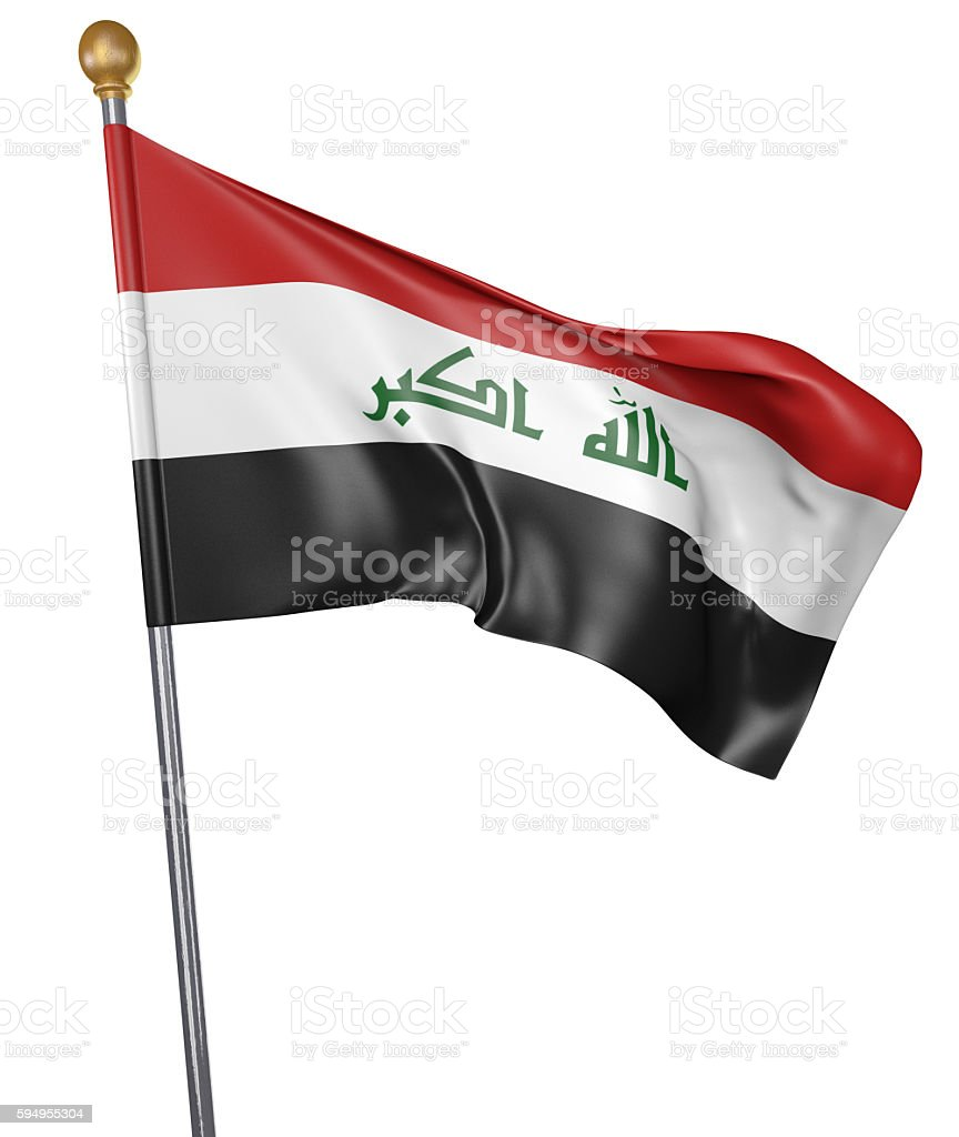 National flag for country of Iraq isolated on white background - foto de acervo