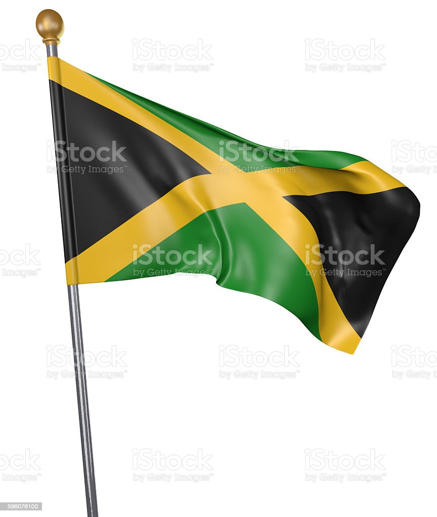 National flag for country of Jamaica isolated on white background - foto de acervo