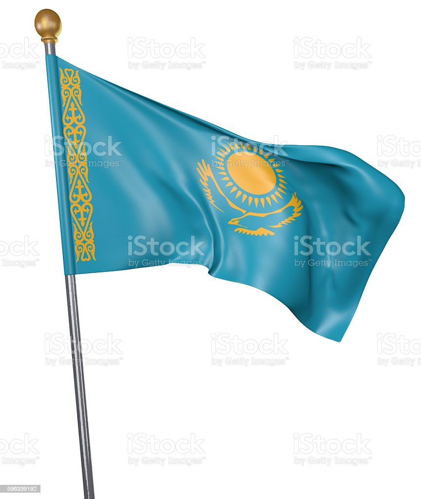 National flag for country of Kazakhstan isolated on white background Lizenzfreies stock-foto