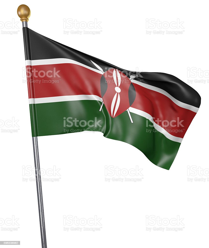National flag for country of Kenya isolated on white background Lizenzfreies stock-foto