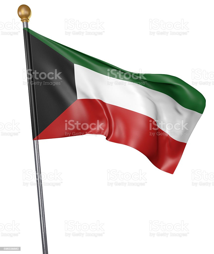 National flag for country of Kuwait isolated on white background royalty-free stock photo