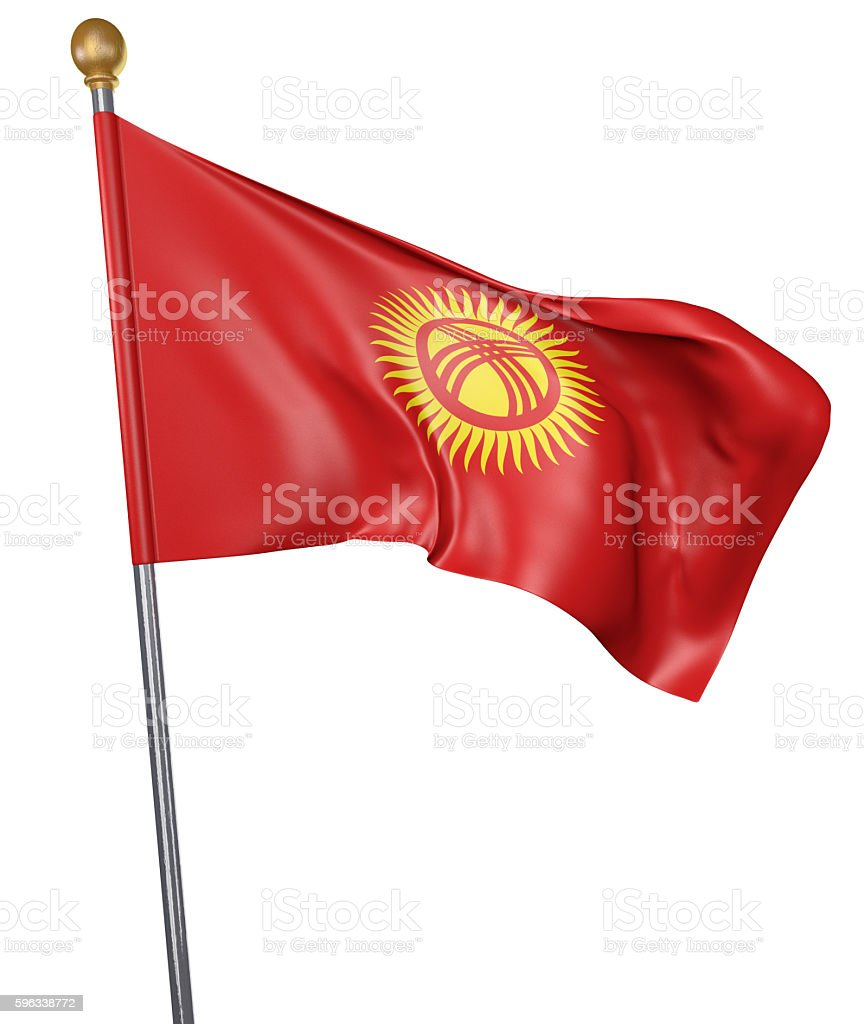 National flag for country of Kyrgyzstan isolated on white background royalty-free stock photo