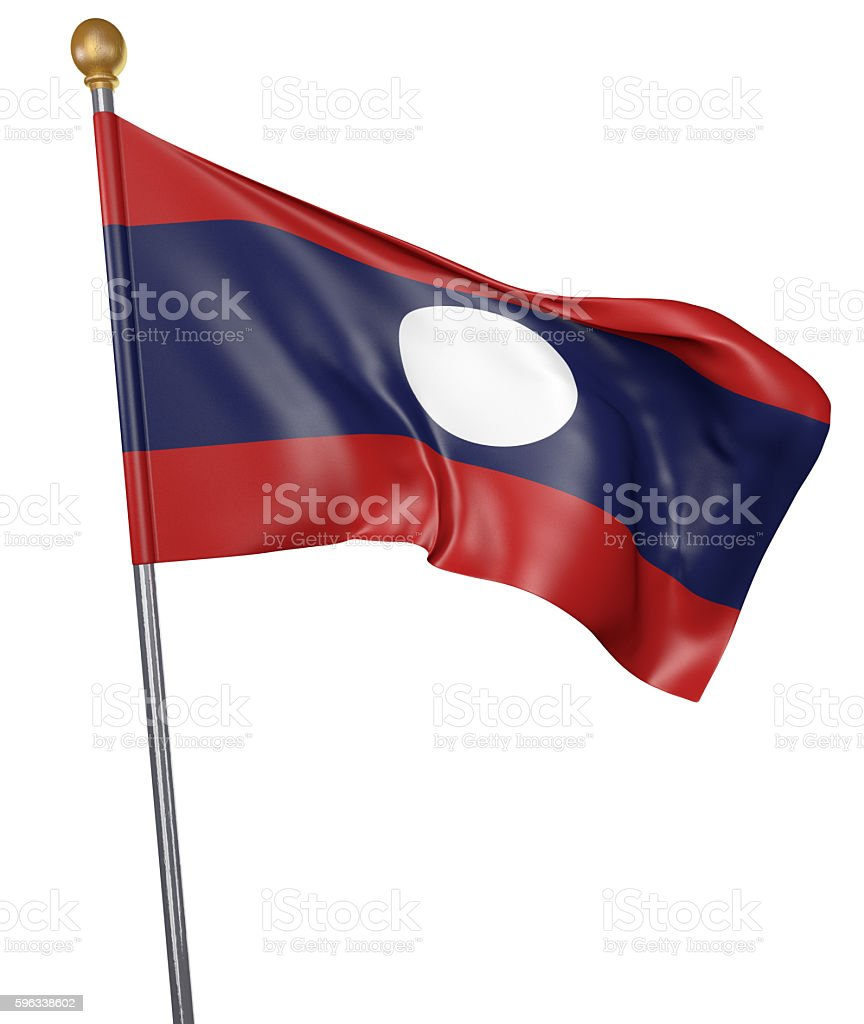 National flag for country of Laos isolated on white background royalty-free stock photo