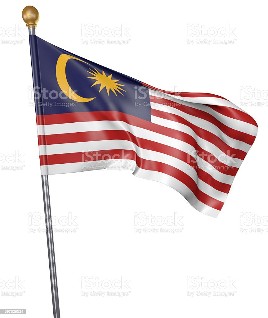 National flag for country of Malaysia isolated on white background - foto de acervo