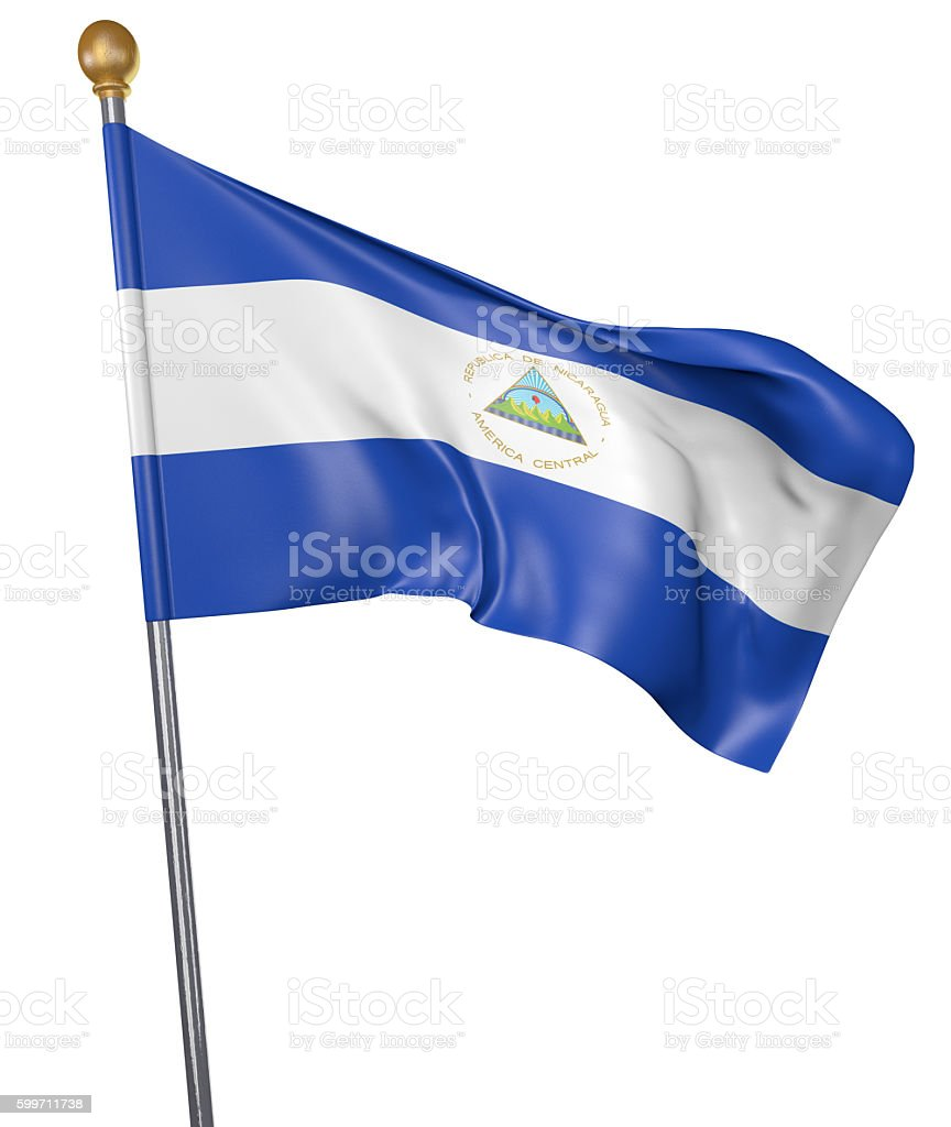 National flag for country of Nicaragua isolated on white background - foto de stock