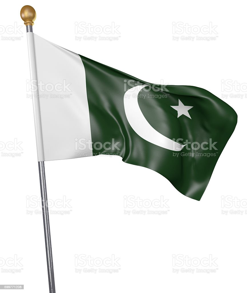 National flag for country of Pakistan isolated on white background stock photo