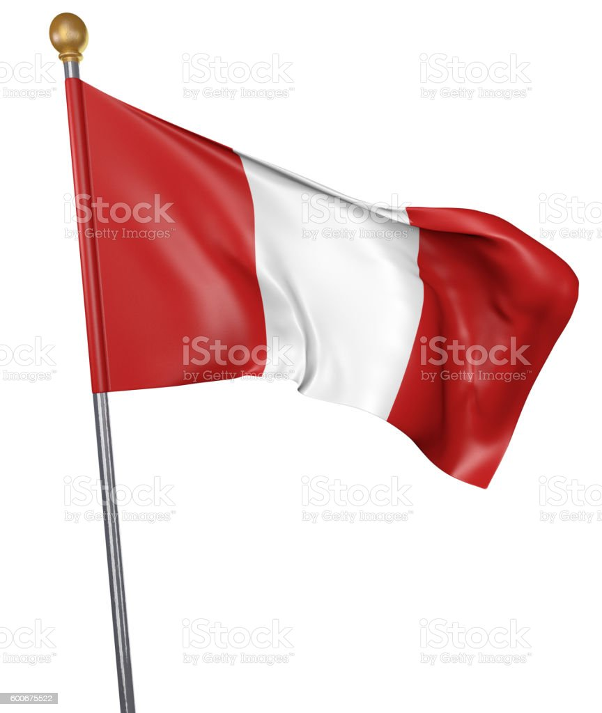 National flag for country of Peru isolated on white background - foto de stock