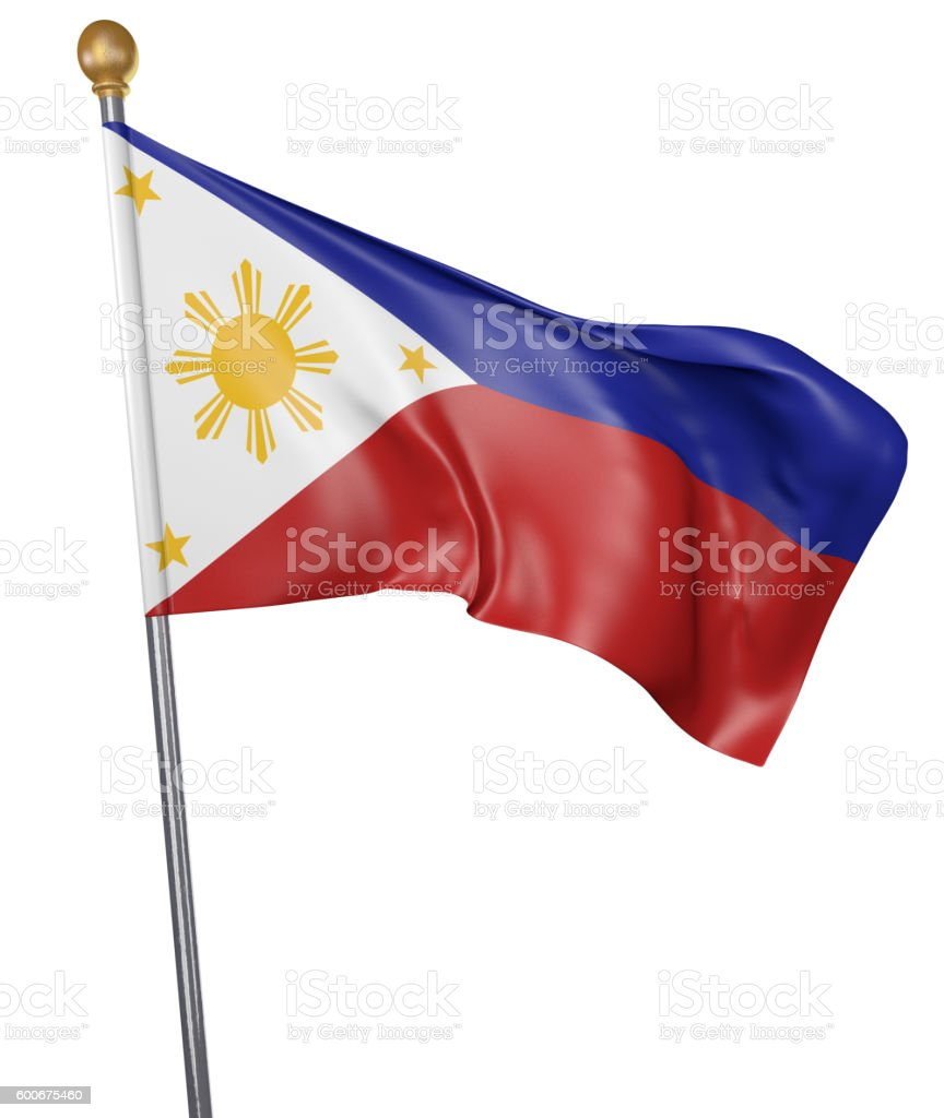 National flag for country of Philippines isolated on white background stock photo