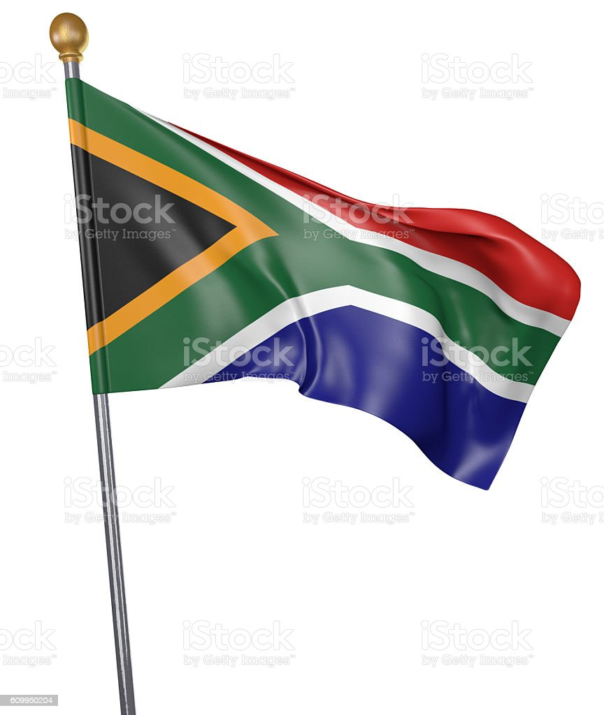 National flag for country of South Africa isolated on white - foto de acervo