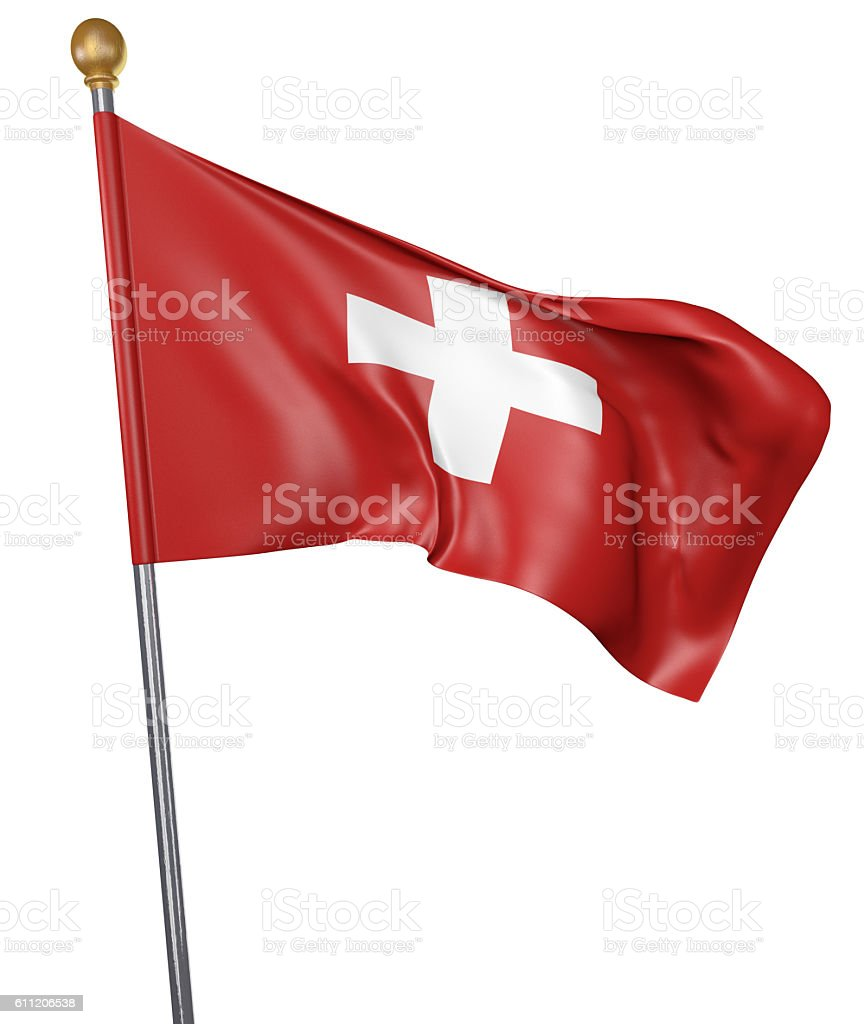 National flag for country of Switzerland isolated on white background stock photo
