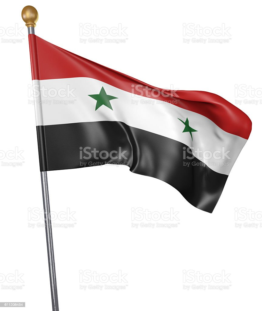 National flag for country of Syria isolated on white background - foto de stock