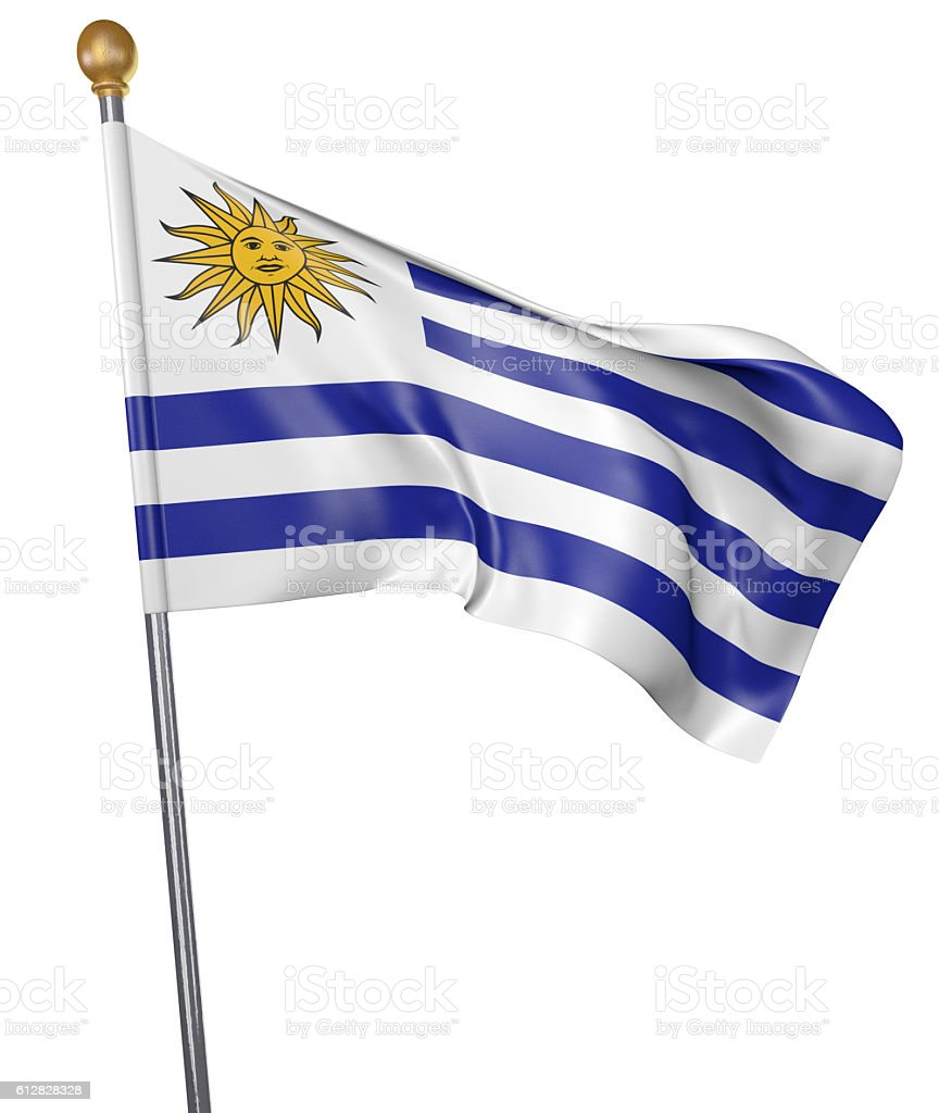National flag for country of Uruguay isolated on white - foto de acervo