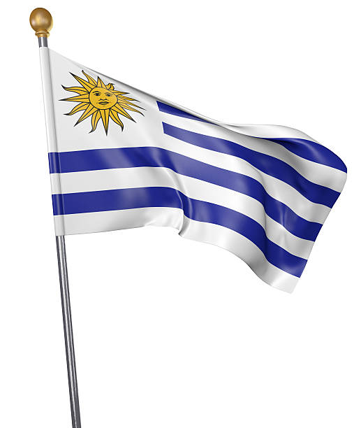 National flag for country of Uruguay isolated on white - foto de stock