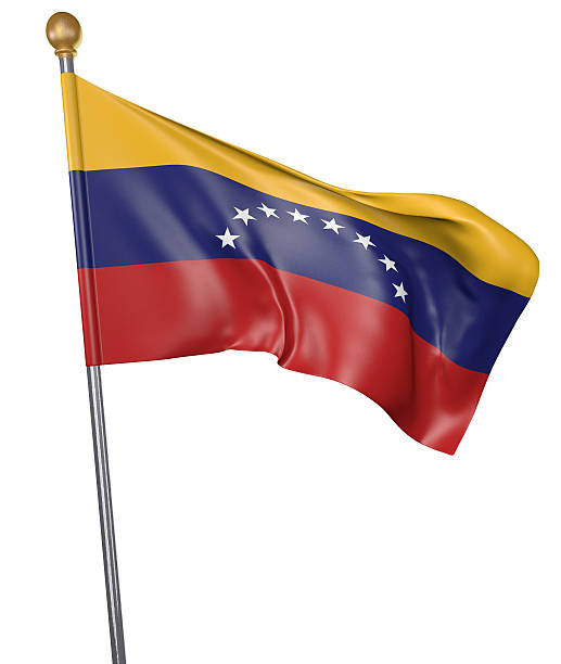 National flag for country of Venezuela isolated on white - foto de stock