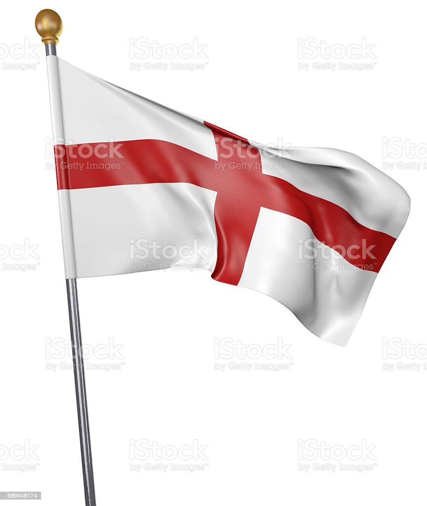 National flag for England isolated on white background - foto de acervo