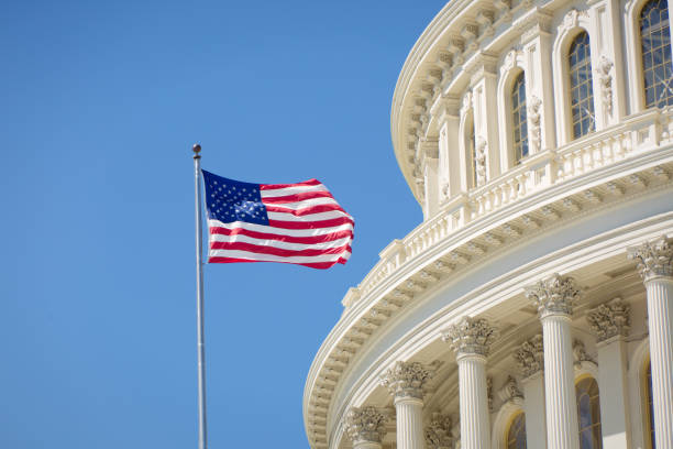 U.S. National Flag in Front of U.S. Capitol in Washington DC stock photo