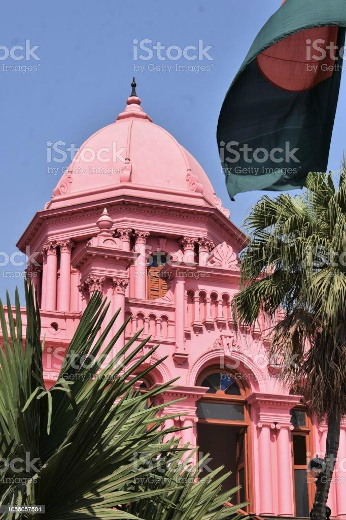 national flag in the palace of Dhaka, Bangladesh stock photo