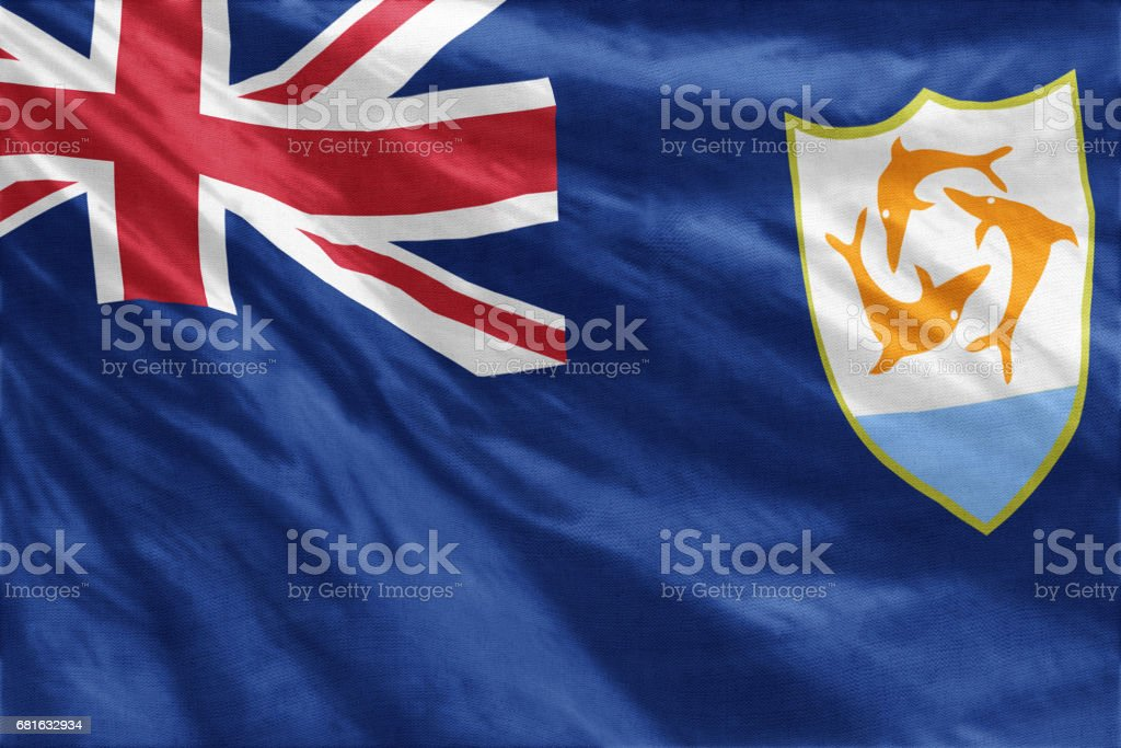 National flag of Anguilla full frame close-up stock photo