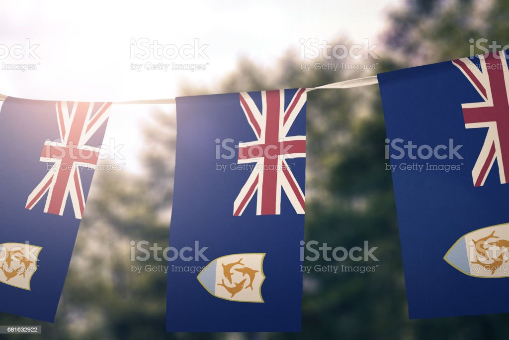 National flag of Anguilla hanging pennant stock photo