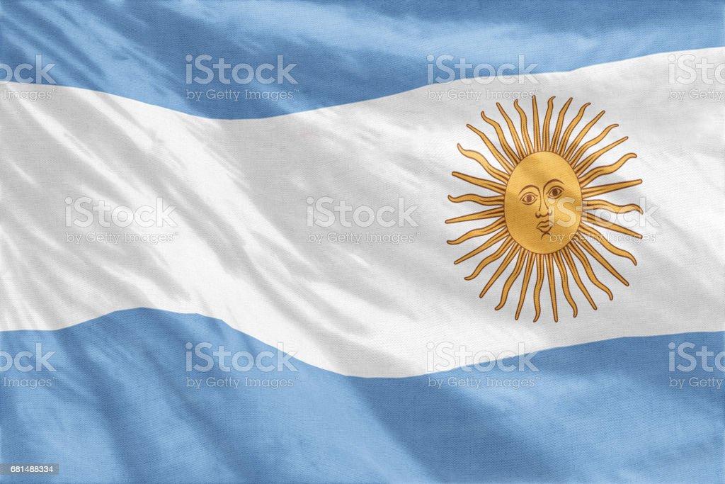 National flag of Argentina full frame close-up stock photo