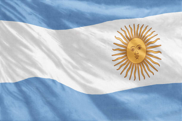 National flag of Argentina full frame close-up stock photo