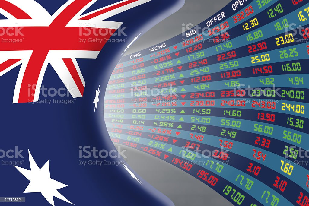 National flag of Australia with stock market display. stock photo