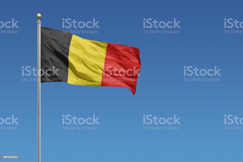 Nationale vlag van België op een heldere blauwe hemel foto