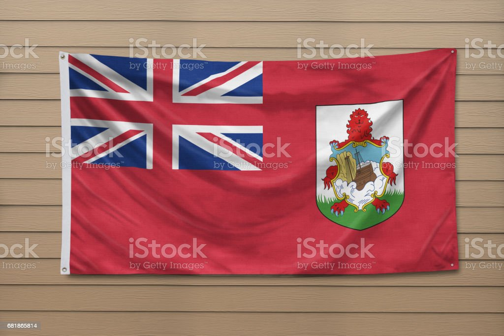 National flag of Bermuda on a wall stock photo