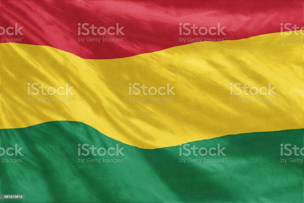 National flag of Bolivia full frame close-up stock photo