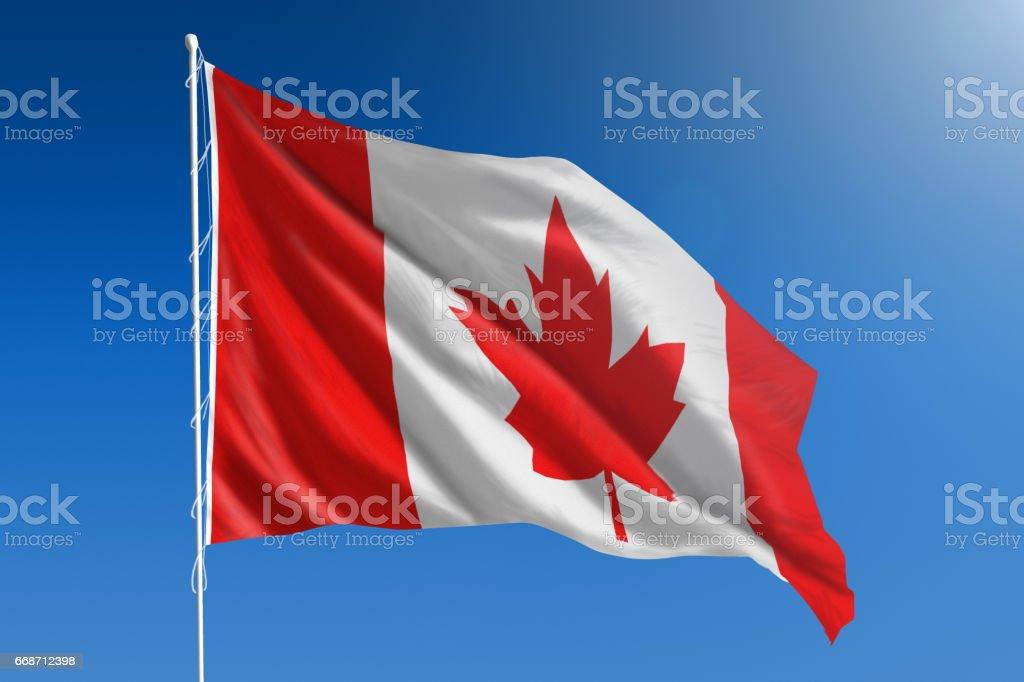 Bandera Nacional de Canadá en el claro cielo azul - foto de stock