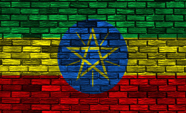 national flag of ethiopia - ethiopian flag stock photos and pictures