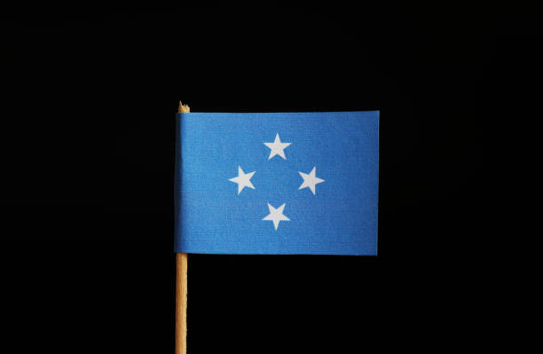 a national flag of federated states of micronesia on wooden stick on black background. the federation belongs to oceania - oceano pacifico occidentale foto e immagini stock