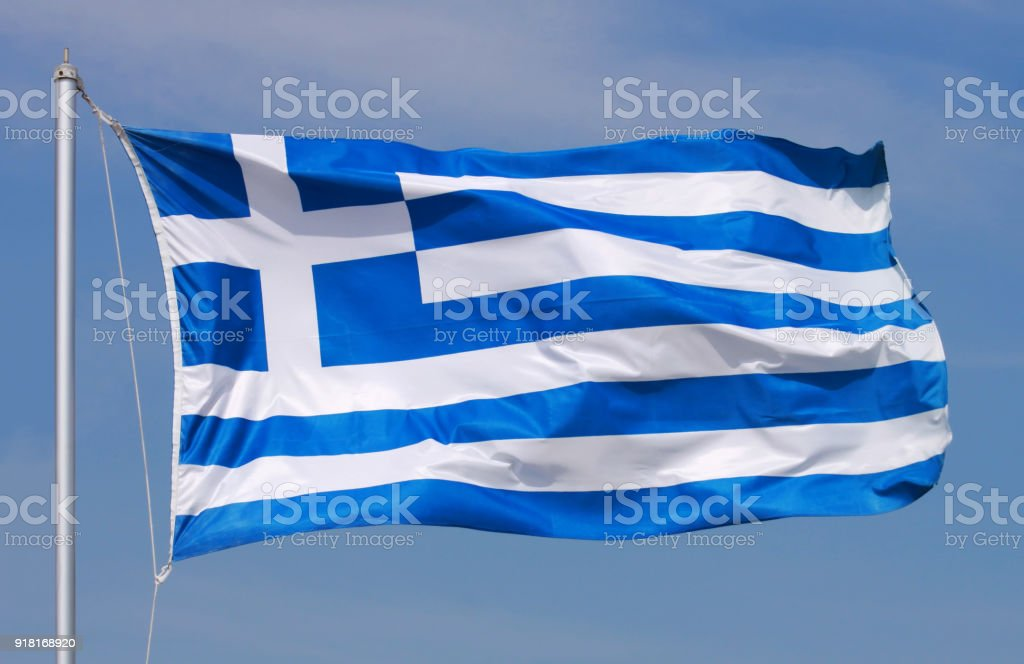 National flag of Greece stock photo