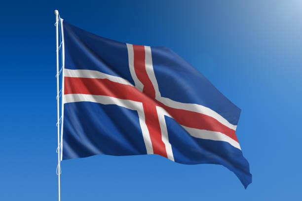 Bandeira nacional da Islândia no claro céu azul - foto de acervo