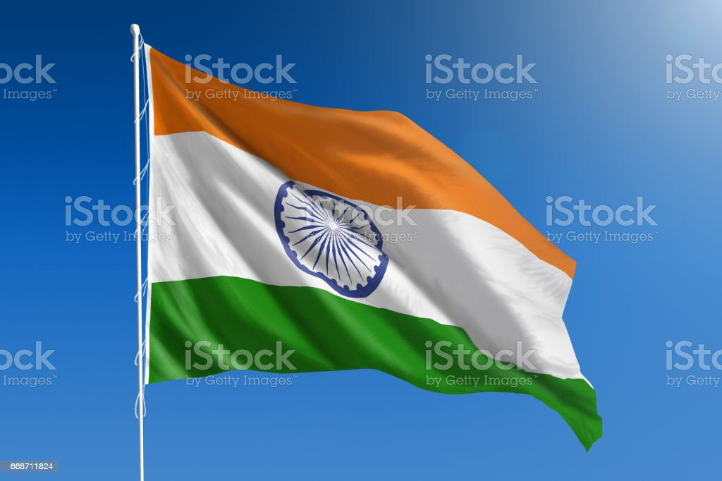 National flag of India on clear blue sky stock photo