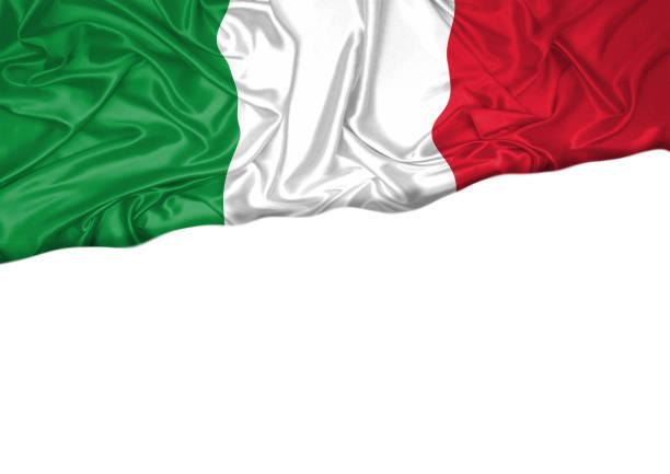 italien flagga hissas utomhus med vit bakgrund. italien dag firande. framifrån - italy poster bildbanksfoton och bilder