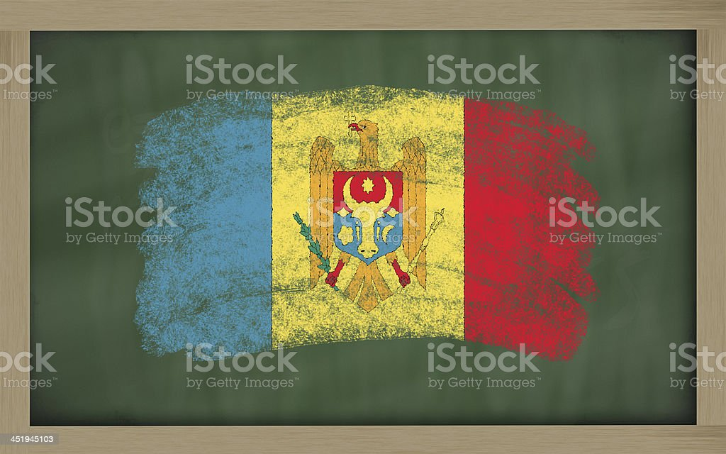 national flag of moldova on blackboard painted with chalk stock photo